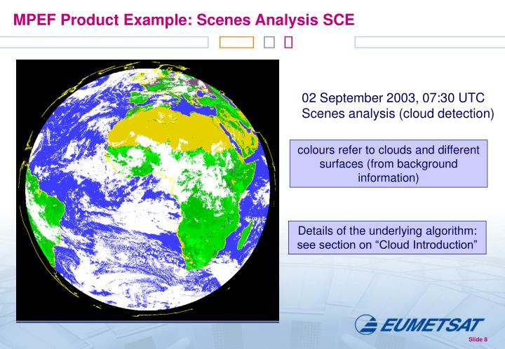 MPEF Product Example: Scenes Analysis SCE
