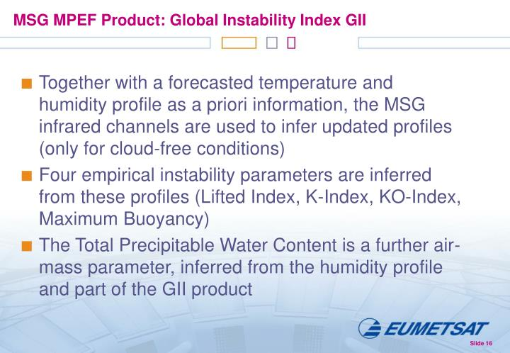 MSG MPEF Product: Global Instability Index GII