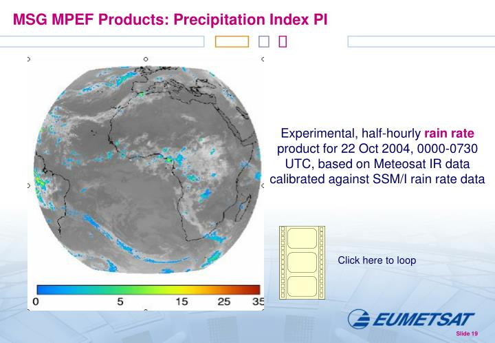 MSG MPEF Products: Precipitation Index PI