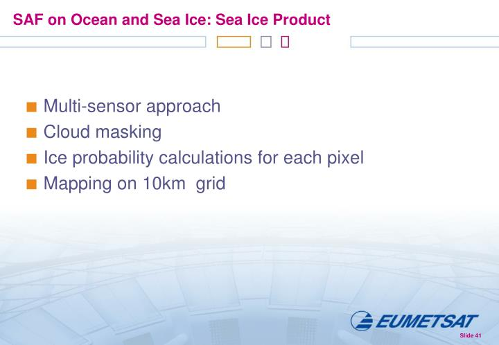 SAF on Ocean and Sea Ice: Sea Ice Product