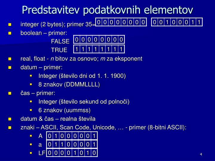 Predstavitev podatkovnih elementov