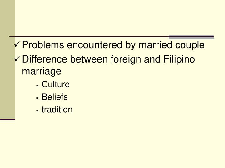 Problems encountered by married couple