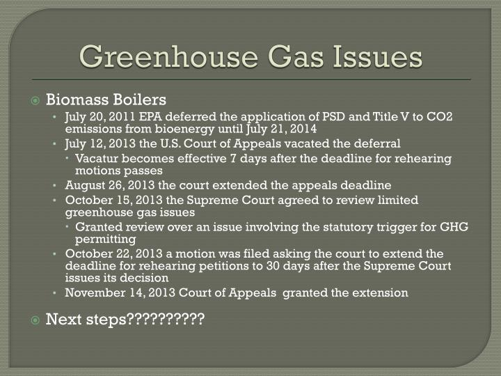 Greenhouse Gas Issues