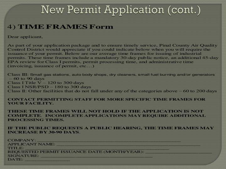 New Permit Application (cont.)