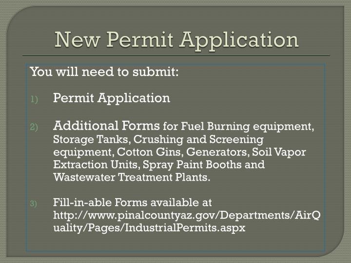 New Permit Application