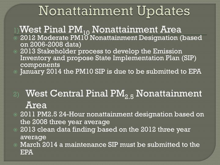 Nonattainment Updates