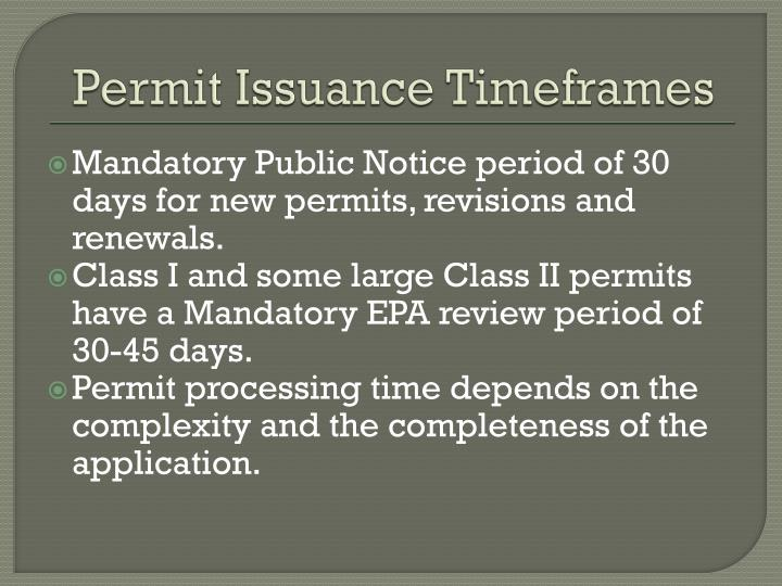 Permit Issuance Timeframes
