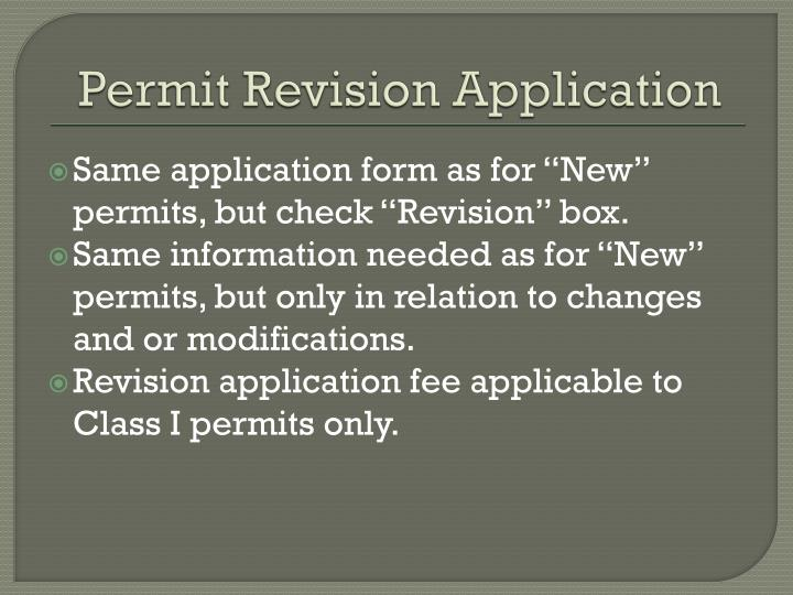 Permit Revision Application