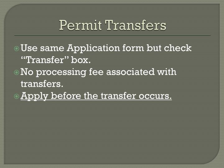 Permit Transfers
