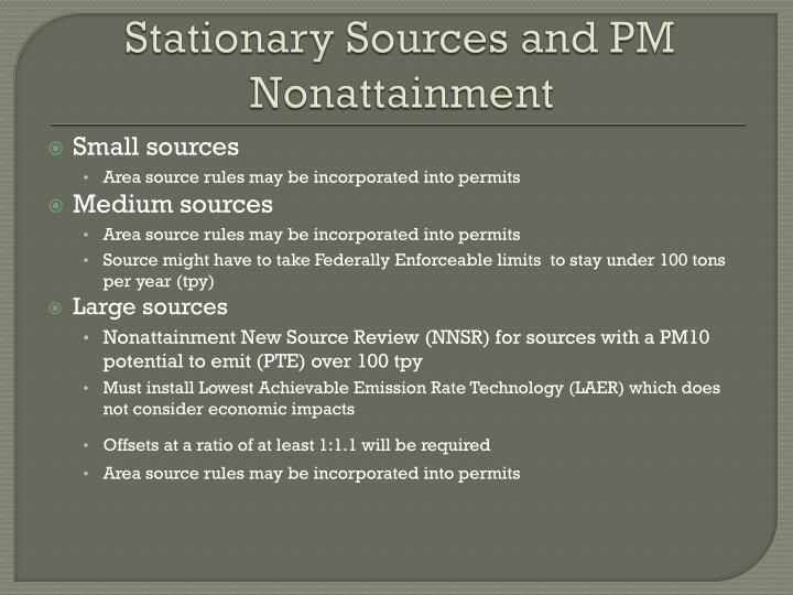 Stationary Sources and PM Nonattainment