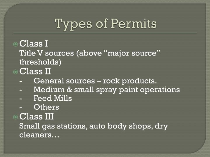 Types of Permits