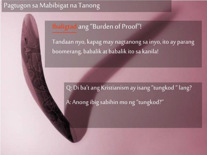 Pagtugon sa Mabibigat na Tanong