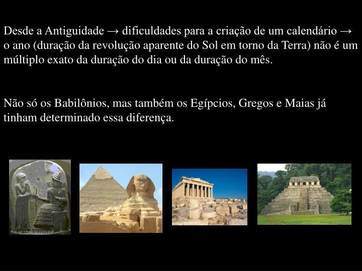 Desde a Antiguidade → dificuldades para a criação de um calendário → o ano (duração da revolução aparente do Sol em torno da Terra) não é um múltiplo exato da duração do dia ou da duração do mês.