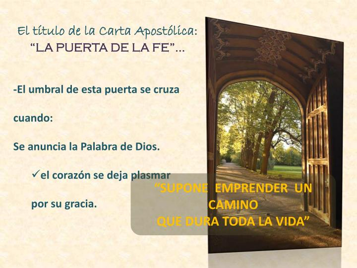 El título de la Carta Apostólica: