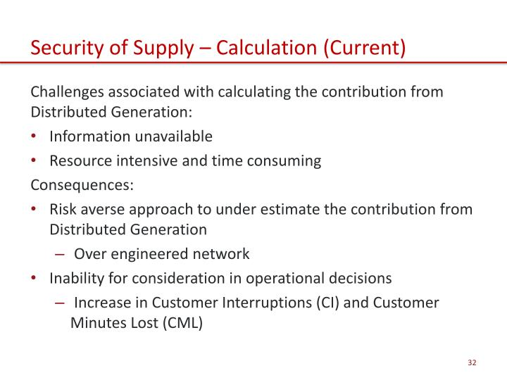Security of Supply – Calculation (Current)