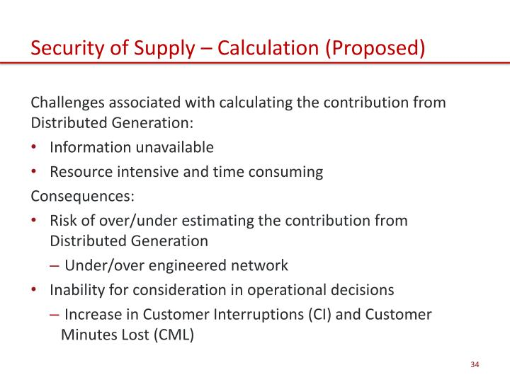 Security of Supply – Calculation (Proposed)