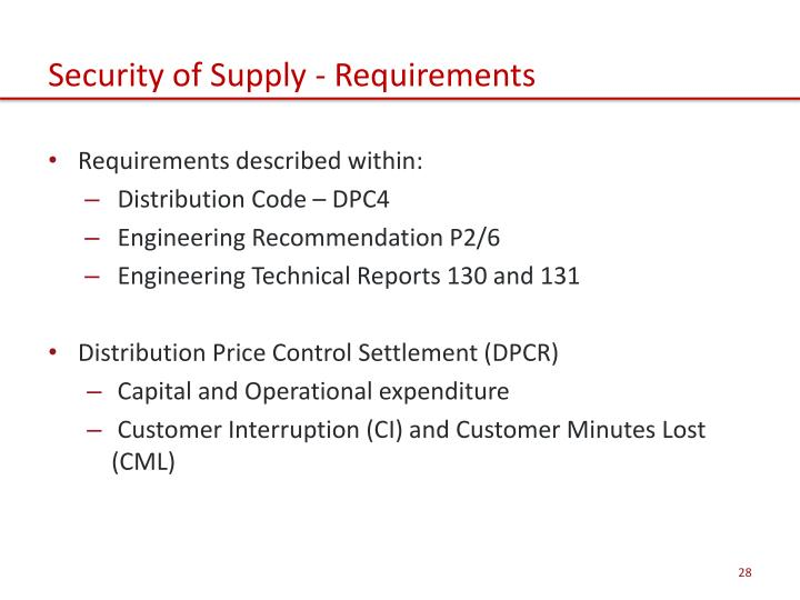Security of Supply - Requirements