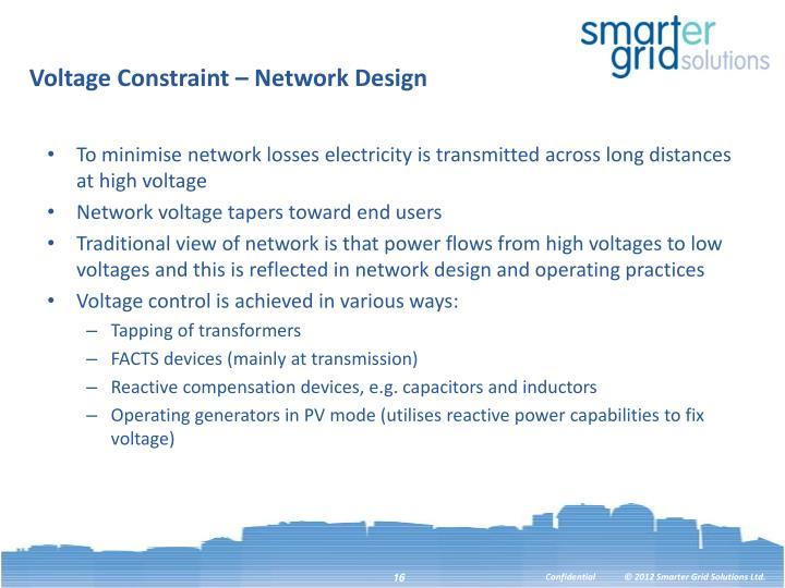 Voltage Constraint – Network Design