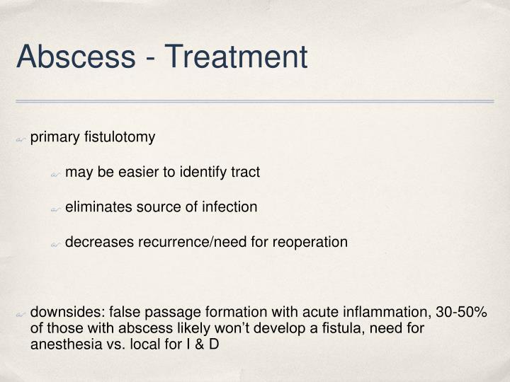 Abscess - Treatment