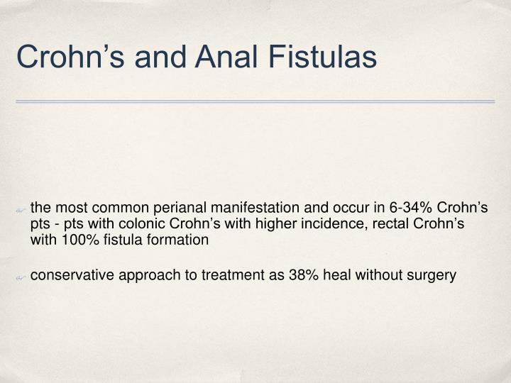 Crohn's and Anal Fistulas