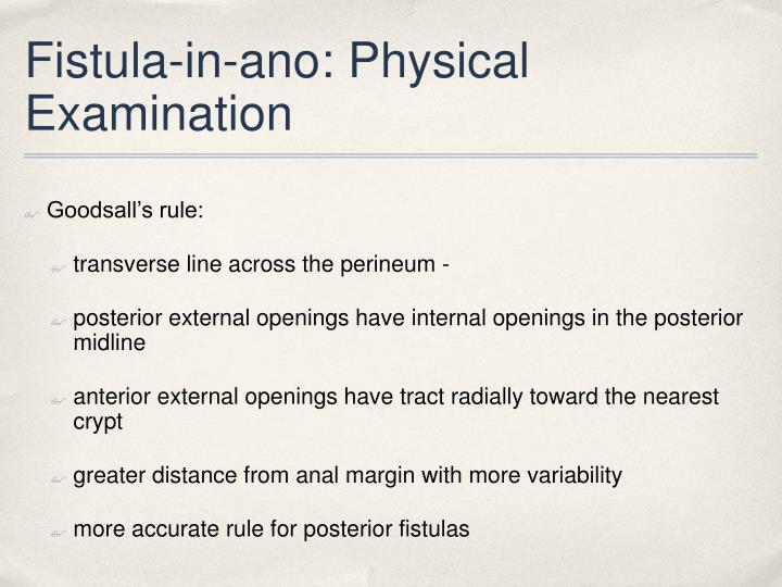 Fistula-in-ano: Physical Examination