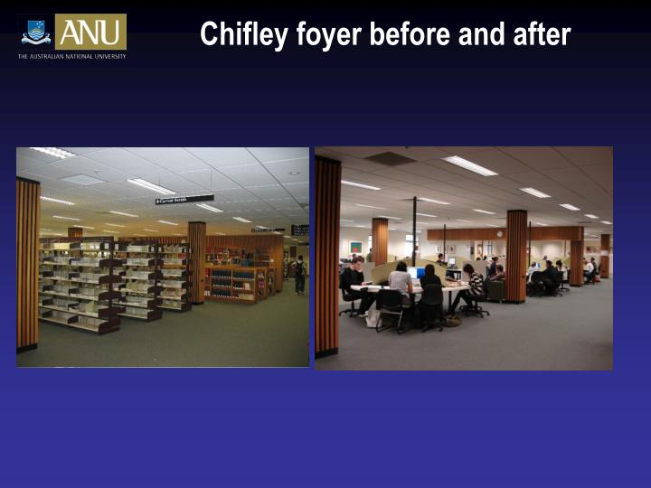 Chifley foyer before and after