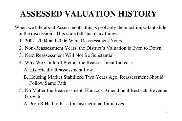 ASSESSED VALUATION HISTORY