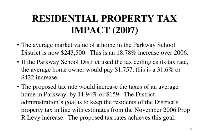 RESIDENTIAL PROPERTY TAX IMPACT (2007)