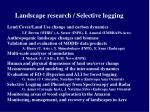 landscape research selective logging