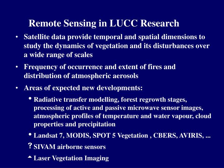 Remote sensing in lucc research