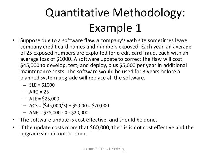 Quantitative Methodology: Example 1