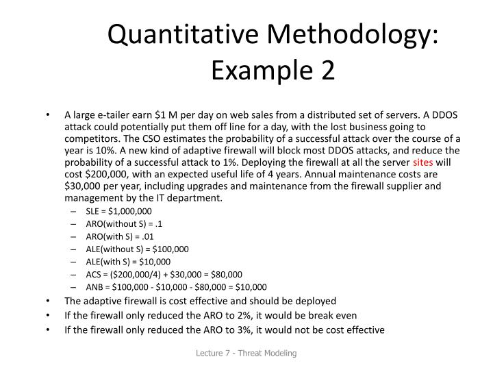 Quantitative Methodology: Example 2