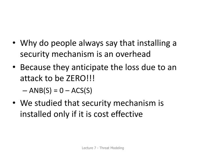 Why do people always say that installing a security mechanism is an overhead