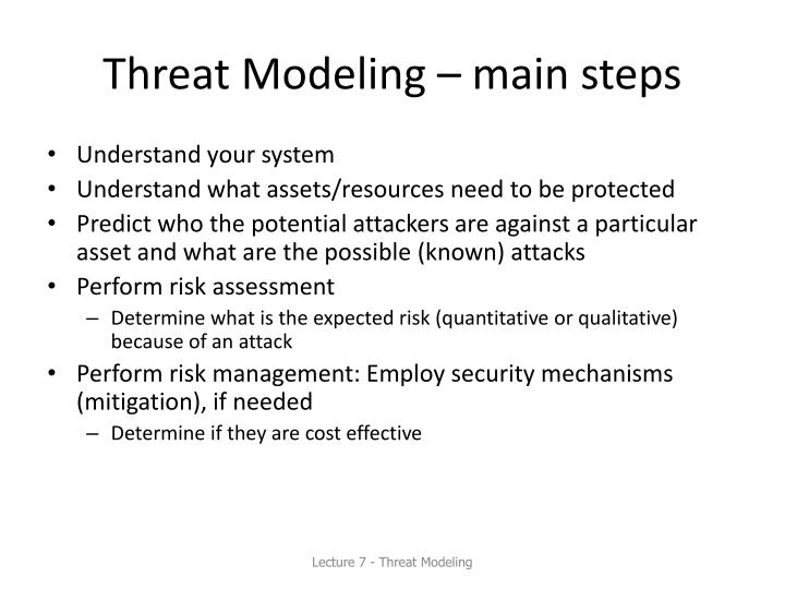 Threat Modeling – main steps