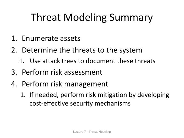 Threat Modeling Summary
