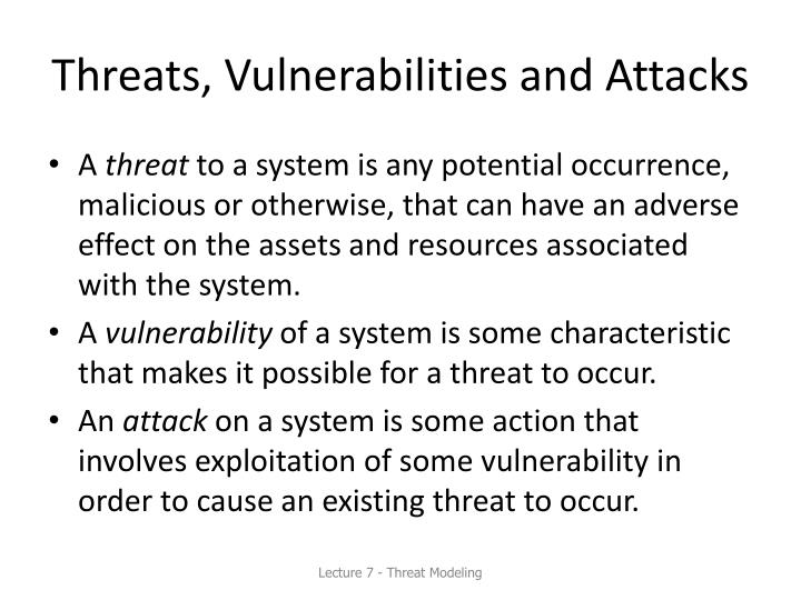 Threats, Vulnerabilities and Attacks