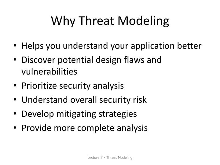 Why Threat Modeling