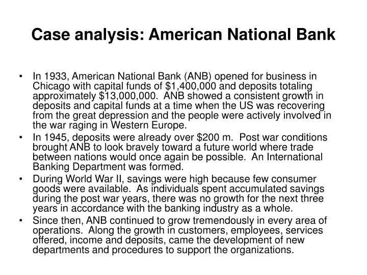 Case analysis: American National Bank