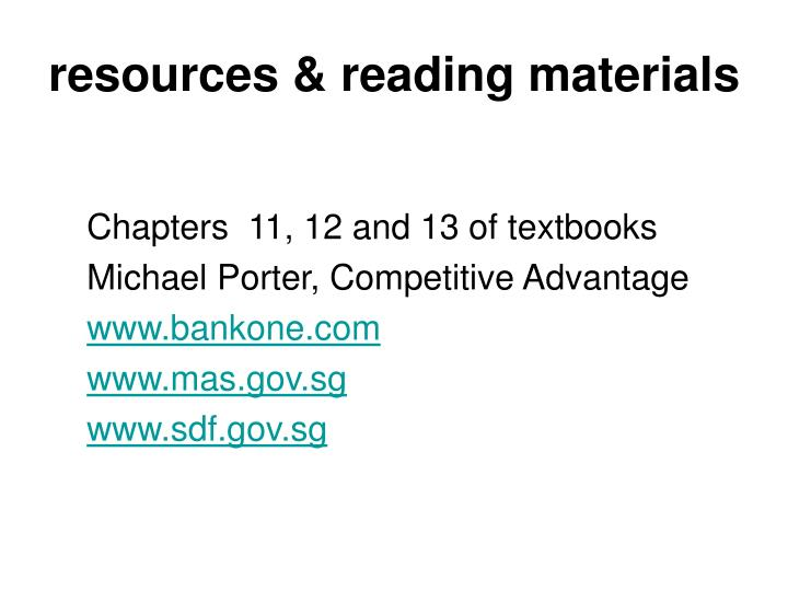 resources & reading materials