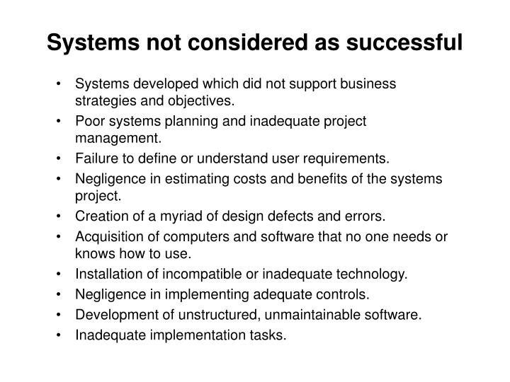 Systems not considered as successful