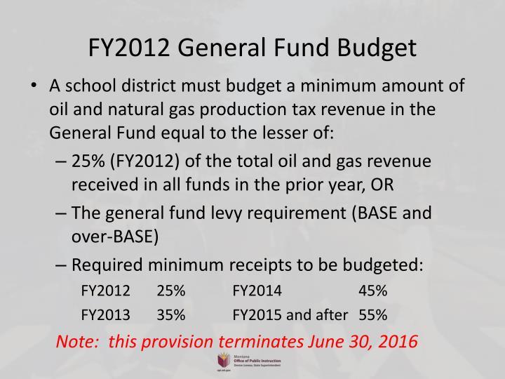 FY2012 General Fund Budget