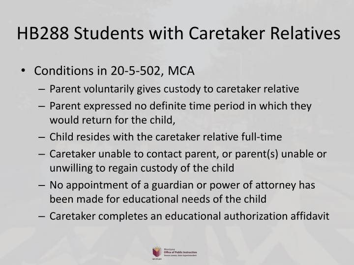 HB288 Students with Caretaker Relatives
