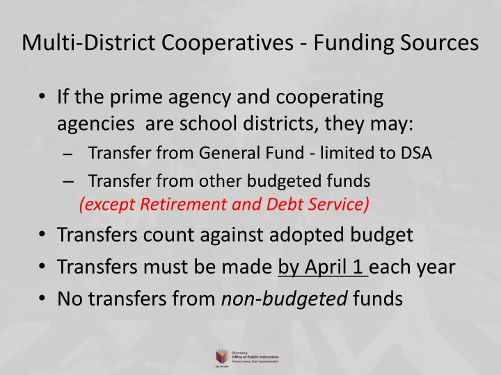 Multi-District Cooperatives - Funding Sources