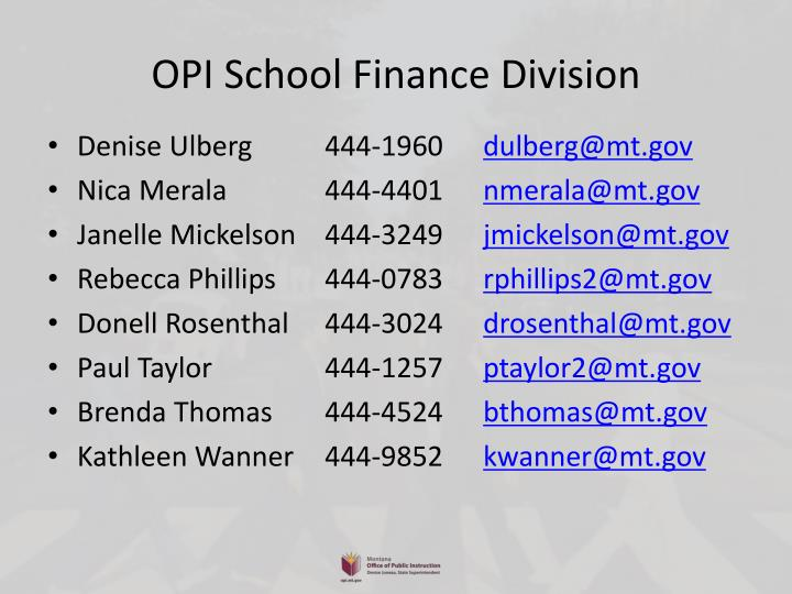 OPI School Finance Division