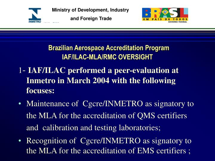 Brazilian aerospace accreditation program iaf ilac mla rmc oversight