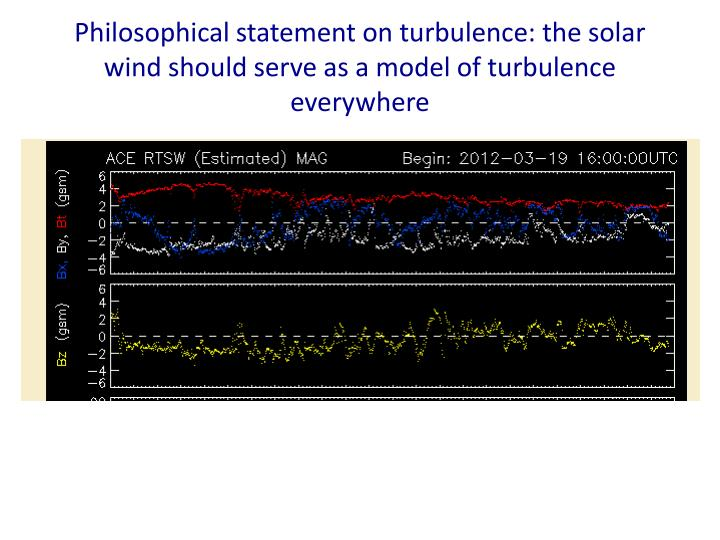 Philosophical statement on turbulence: the solar wind should serve as a model of turbulence everywhere