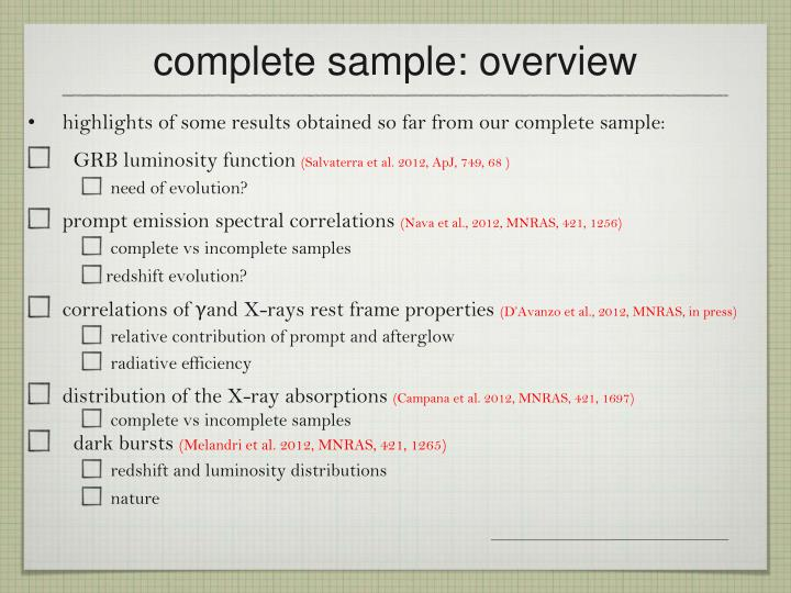 complete sample: overview