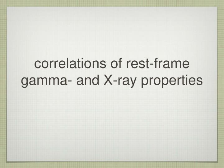 correlations of rest-frame gamma- and X-ray properties