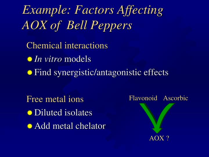 Example: Factors Affecting AOX of  Bell Peppers