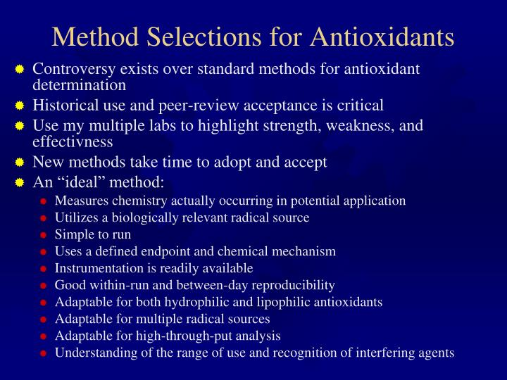 Method Selections for Antioxidants